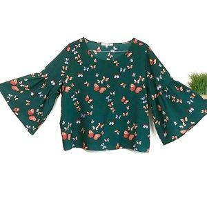 Stella Tweed Bell Sleeved Boho Butterfly Top 1X